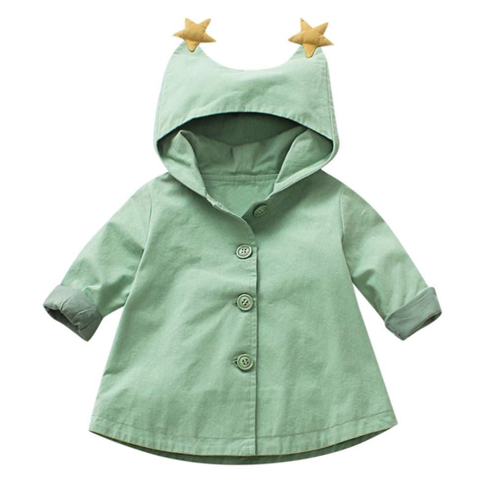 Little Kids Winter Autumn Coat,Jchen(TM) Clearance! Toddler Baby Little Girls Lovely Cartoon Outerwear Jacket Windbreaker Hooded Coat for 0-3 Y (Age: 0-12 Months, Green)