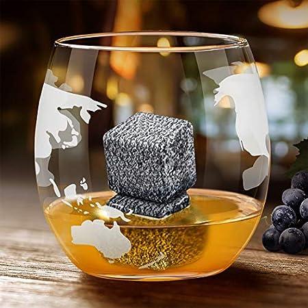 DUTISON Jarra de whisky con globo terráqueo y alcohol, juego de decantador con soporte de madera, mapa del mundo, regalo para hombres y mujeres, botella de cristal