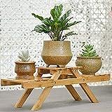 Wooden Plant Flower Display Stand, Wood Pot Shelf Storage Rack Display Shelf Garden Holder Ladder Outdoor/Indoor