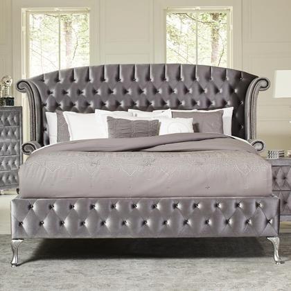 (Coaster Home Furnishings 205101KE Upholstered Bed, Grey Metallic)