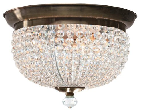 6743-AB Newbury 3LT Flush Mount, Antique Brass Finish with Clear Crystal Beads