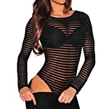 #3: Shawhuwa Womens Sexy Sheer Striped Long Sleeve Bodysuit Tops Clubwear