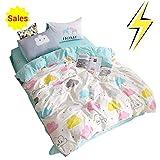 OTOB Children Cartoon Cloud Duvet Cover Set Cotton 100 3 Piece Queen Full Cloud Bedding Set for Kids Baby Toddler Crib, Full/Queenr Crib Full/Queen