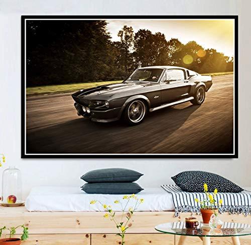 60 Cm MZCYL Tela Pittura Immagine di Arte della Parete Ford Mustang Gt500 Eleanor 1967 Muscle Car Race Poster Stampa Tela Pittura Regalo Senza Cornice 40