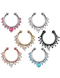 Richbest fake septum crystal clicker Fake nose Ring Piercing faux Body jewelry Hoop For Women Septum