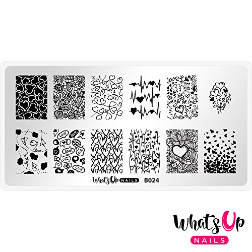 (Whats Up Nails - B024 Love is Everywhere Stamping Plate for Nail Art Design)