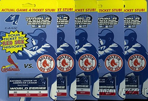 Lot of FIVE(5) 2004 Red Sox World Series Actual Game 4 Ticket Stubs !  First Title in 86 Years (Tickets Red Sox)