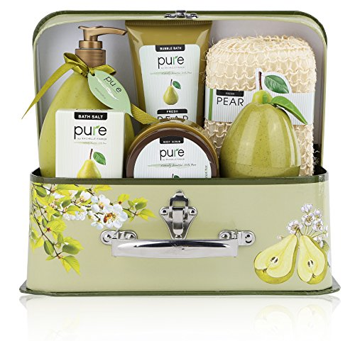 Spa Gift Basket, PURE Spa Basket -Bath and Body Gift Set. Pear Christmas Gift Basket for Women Includes Bubble Bath, Body Scrub, Shower Gel, & more! #1 Holiday Gift Baskets for Women! (Large)