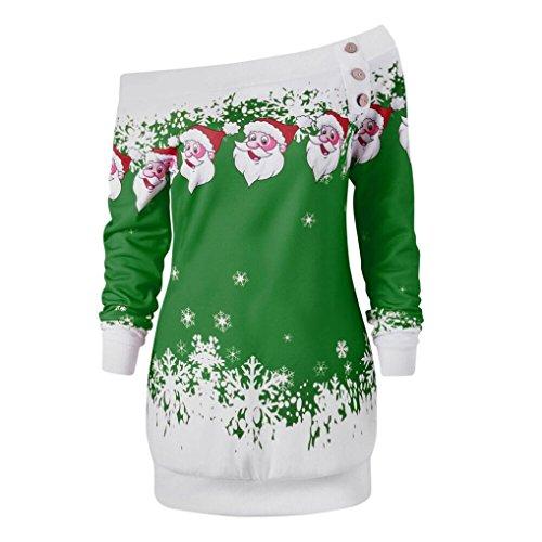 Realdo Women's Christmas Santa Tops, Womens Merry Christmas Snowflake Print Long Sleeve Slanting Blouse Shirt(Green,X-Large)