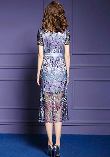 Cotylédons Women`s Robe De Robe Élégante Robe Voir Par Coupe Slim Violet