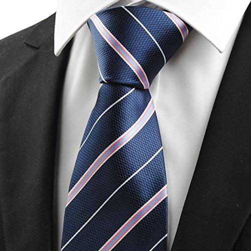 Men's Blue Navy Tie White Pink FYios Striped Tie Necktie Necktie qH04AY