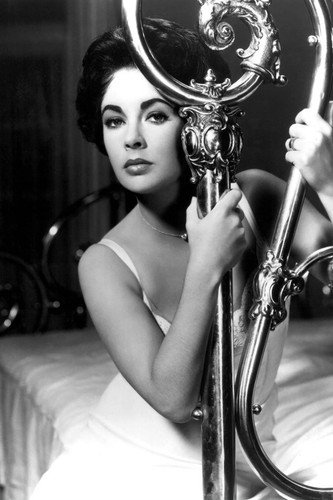 Elizabeth Taylor in Cat on a Hot Tin Roof sizzling pin up on bed 24x36 Poster from Silverscreen