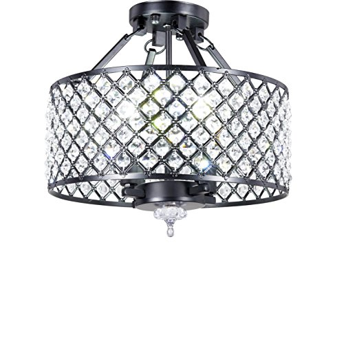 New Galaxy 4-light Antique Black Round Metal Shade Crystal Chandelier Semi-Flush Mount Ceiling - Crystal Semi Chandelier Flush