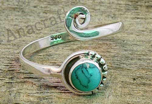 Turquoise Toe Ring - 925 Sterling Silver Feet Body Jewellery Adjustable Toe Ring For Girls Women Gift Jewellery