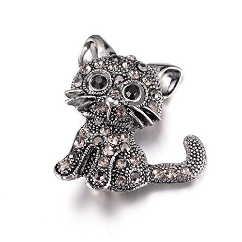 Girls Sassy Cat Animal Costumes (Top Cheer 3pcs Cute Cat Brooch Cartoon Silver Cat Brooch Pins)
