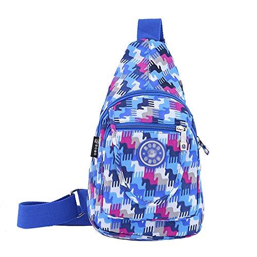 KARRESLY Women Outdoor Sports Casual Nylon Unbalance Backpack Crossbody Sling Bag Shoulder Bag Chest Bag