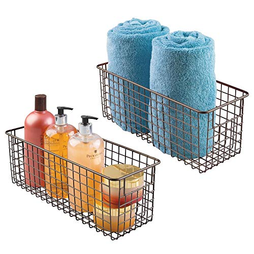 (mDesign Bathroom Metal Wire Storage Organizer Bin Basket Holder with Handles - for Cabinets, Shelves, Closets, Countertops, Bedrooms, Kitchens, Garage, Laundry - 16
