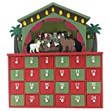 Christmas Nativity Crib Decoration Wooden Advent Calendar with 24 Drawers for Christmas Decoration