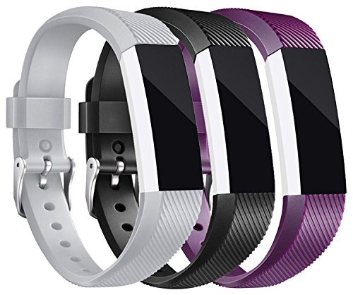 Konikit Band Compatible Fitbit Alta HR/Alta Straps, Soft Adjustable Replacement Band Accessory Secure Watch Clasps, Pack of 3