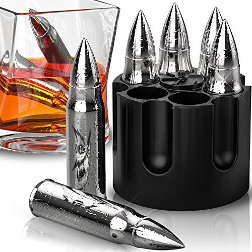 Present Stocking - Bullet Shaped Metal Whiskey Stones - 6-Pack Stainless Steel Whiskey Rocks | Metal Ice Cubes to Chill Bourbon, Scotch in Your Whisky Glass - Cool Gifts for Men, Father's Day, Christmas Stocking Stuffer