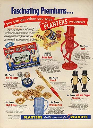(Fascinating Planters Peanuts Premiums ad 1954 bank salt & pepper nut chopper L)
