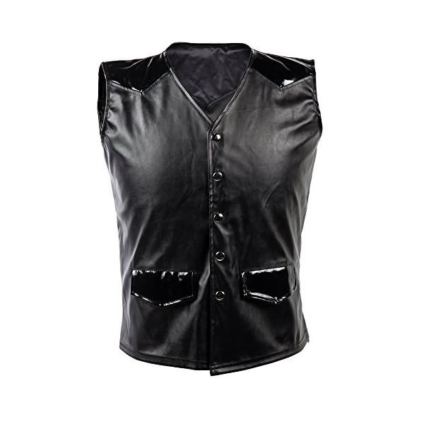 Bslingerie Mens Steampunk Faux Leather Cowboy Waist Coat Vest 3
