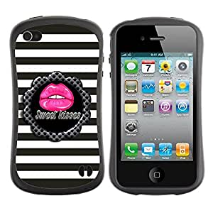 "Hypernova Slim Fit Dual Barniz Protector Caso Case Funda Para Apple iPhone 4 / iPhone 4S [Dulce Patrón beso Rayas Gris Rosa""]"