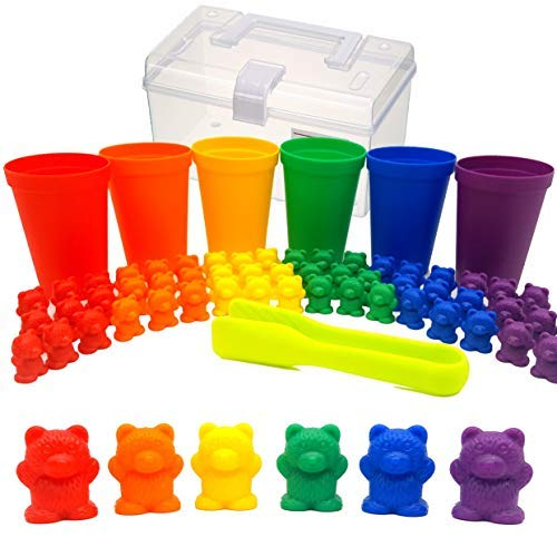 KABOOCHY Rainbow Counting Bears with Matching Sorting Cups and Storage Container 68pc Set. Quality Colorful Toy Counters for Kids to Learn Mathematics Games, STEM, Montessori Matching Game