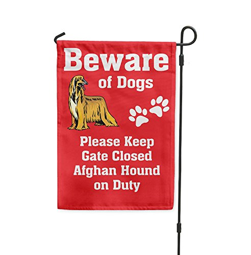 Beware of AFGHAN HOUND DOG on Duty Yard Patio House Banner Garden Flag Stake Flag & Garden Pole 10 1/2'' x 16'' by Fastasticdeals