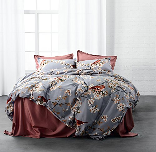 Windflower Bedding Bloomfield Floral Duvet Cover 3pc Set Cotton Botanical Nature Vines Branches Birds Butterflies Multicolored Flowers (King, Grey Lilac) (Cherry Blossoms Against Red Background)
