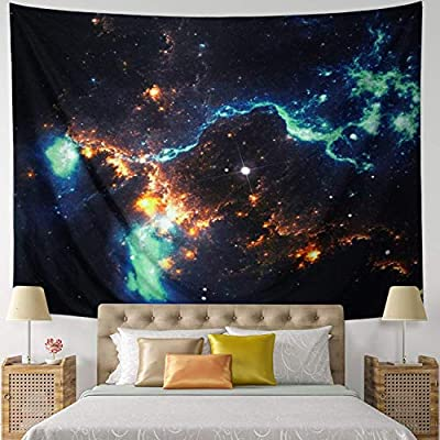 Leofanger Burning Sun Tapestry Psychedelic Sun Wall Tapestry Black and White Tapestry Moon Sun with Star Bohemian Mandala Tapestry Fractal Faces Tapestry for Bedroom Living Room Dorm