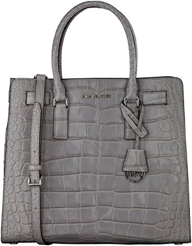 Michael Kors Large NS Ash Grey Embossed Leather Dillon Tote (Croco Tote Embossed Bag Leather)
