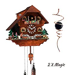 Qwirly 2 Item Bundle: Hermle Heidelberg Black Forest Cuckoo Clock #45000 and Optical Illusion Spinner