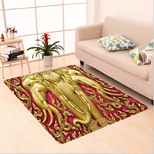 Nalahome Custom carpet Elephant Carved Gold Paint on Door Thai Temple Spirituality Statue Classic Image Magenta Golden area rugs for Living Dining Room Bedroom Hallway Office Carpet (6.5' X 10') by Nalahome