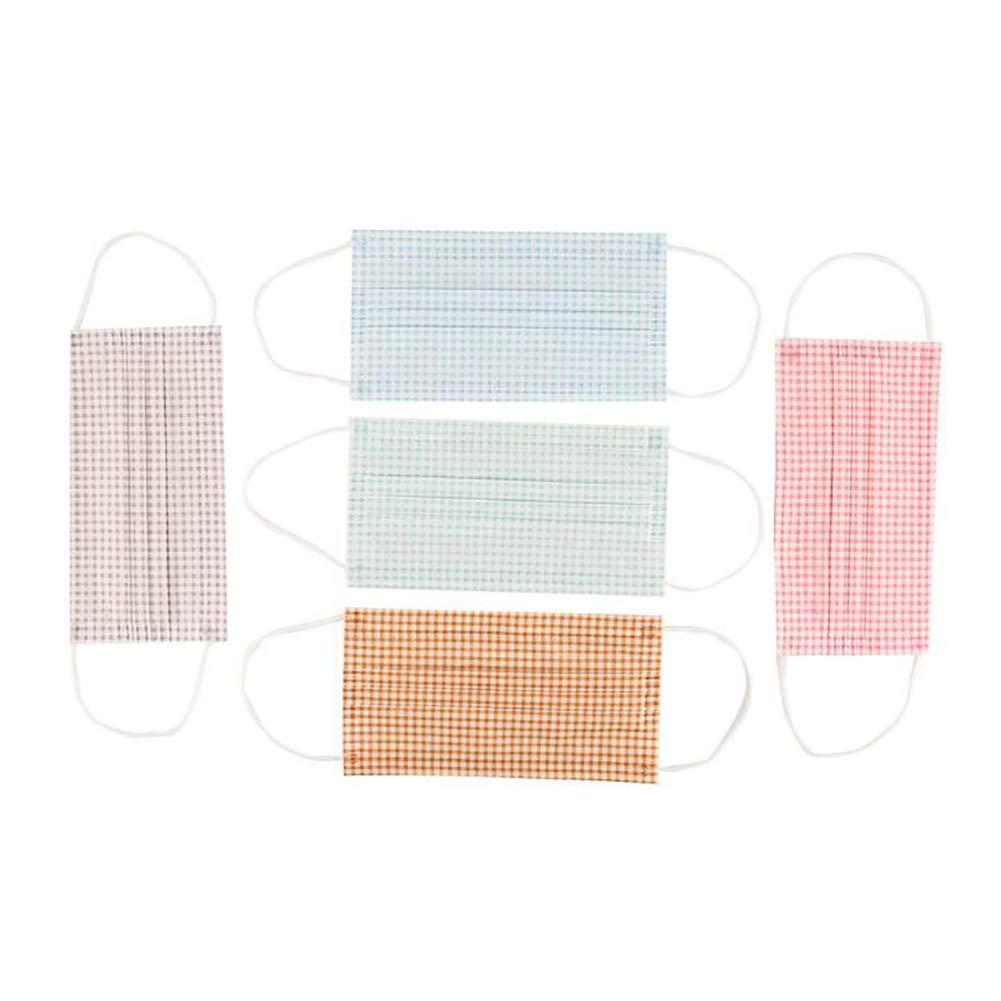 Academyus 5Pcs Reusable Plaid Cotton Face Mouth Masks Anti-Dust Breathable Respirator