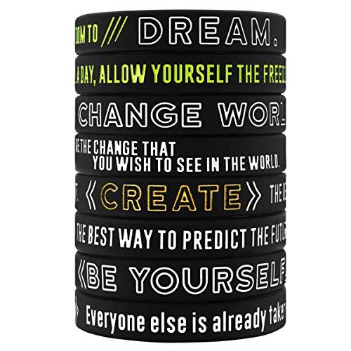 (Sainstone 12-Pack Create, Be Yourself, Change World, Dream - Inspirational Motivational Silicone Bracelet Wristbands Wholesale Bulk Lot Bundle - Adults Unisex Gifts for Teens Men Women (12pcs))