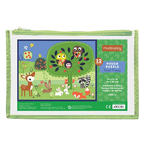 Mudpuppy Forest Friends Pouch Animal Puzzle, 12 Pieces, 14