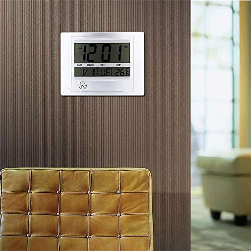 Libertroy TS-H129Y Digital Number LCD Calendar Wall Alarm Clock con Snooze Thermometer Higr/ómetro de Temperatura