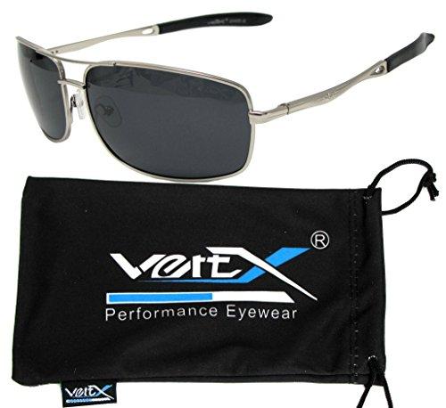 VertX Men's Polarized Metal Aviator Sunglasses Spring Hinge Fishing Driving Golf Outdoor – Silver Frame – Smoke (Smoke Reflective Lens)
