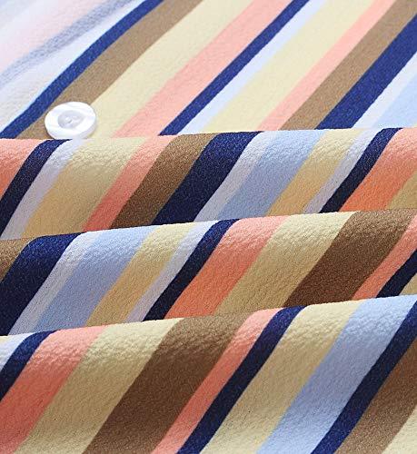 Top Up Longue Femmes Button Ray Chemise Manche Multicolore Tunique Blouse Blouse Col V Jaune en wq784UEq