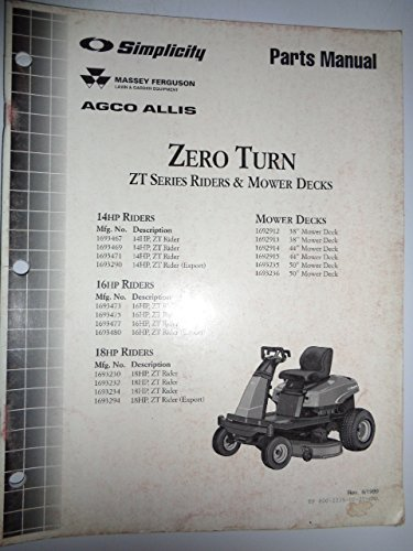 llis ZT Series Zero Turn Riders & Mower Decks (14, 16 & 18 HP) Parts Catalog Book Manual Original TP400-2235 (Hp Parts Catalog Manual)