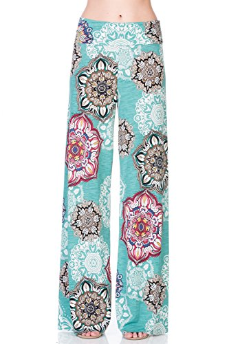 12TREES Women's Casual Bohemian Wide Leg Palazzo Pants