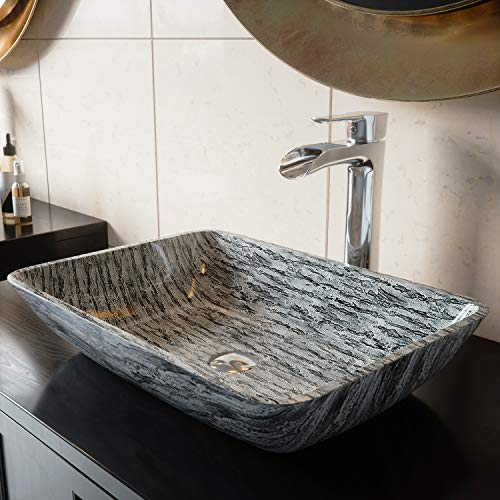 - VIGO VG07085 Rectangular Titanium Glass Vessel Bathroom Sink