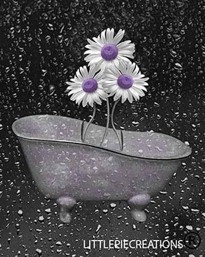 Amazon.com: Purple Gray Bathroom Wall Art, Daisy Flowers