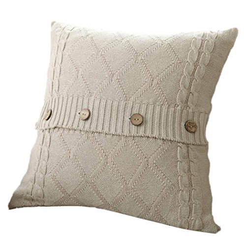 MIARHB Pillow Cases Knitted Button Decor Cable Knitting Patterns Throw Pillow Cases Cushion Shell Cafe Sofa Home Decor (Beige, 18 × 18 Inch)
