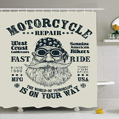 Ahawoso Shower Curtain 66x72 Inches Guy Biker Retro Motorcycle Repair Fast Ride Person Vintage Cool Bandana Glasses Rider Beard Design Waterproof Polyester Fabric Set with Hooks ()