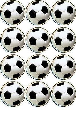 Balones de Fútbol de Papel de Arroz x 12 para Decorar Cupcakes de 40mm Fabricados por Simply Topps: Amazon.es: Alimentación y bebidas