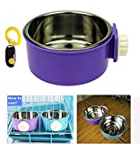 Pet Leso Removable Stainless Steel Hanging Bowl Cat Bowl Dog Water Bowl Birds Food Bowl with Dog Training Clicker -Purple