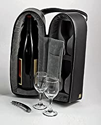 Wine Carrier - Wine Caddy with Two Glasses & Bar Tool - Leather Case - Wine Holder