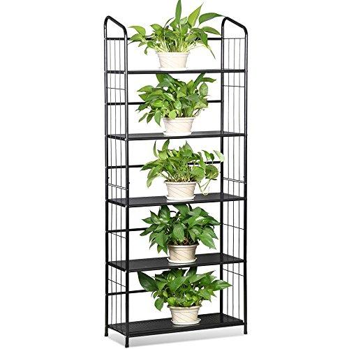 Mission Oak Plant Stand (Black, 5 Tier Metal Plant Stand Decorative Planter Holder Flower Pot Storage Shelf Rack)